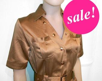 SALE,navy dress, SAFARI dress,retro,40s,50s,marine dress,sailor dress,golden beige,stretch satin,belted dress, S to Xl