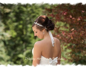 Jeweled Wedding Headband, Rhinestone Bridal Headband, Jeweled Headpiece, Wedding Hair Piece, Crystal Headband, Ribbon Headband, No. 1126HB2