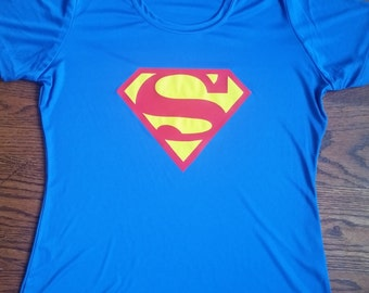 Featherweight half marathon and marathon running shirts for women. Superman Running Shirt Workout Shirt