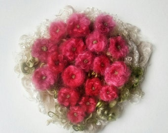 Felt Flowers and Mohair Locks- Felt Beads