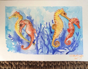 Charming Seahorses Original Watercolor Painting Greeting Card Art