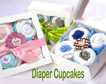 Diaper Cupcakes. Baby shower gift. Baby boy or baby girl. 3 colors FREE SHIPPING USA