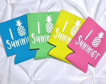 I pineapple summer. Summer beverage holder. Can coolers. Neon can coolers. Summer Drink holders. Pineapple. Cute can holders. Beer holder.