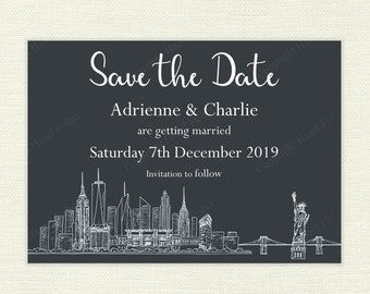 New York Skyline Wedding Save the Date - white on dark grey, printable customised save the date card, hand drawn city skyline - SD009b