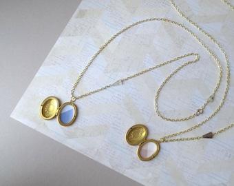 Dalj - One Long Locket Necklace; Modern Geometric White or Smoky Quartz Triangle Gemstones; Oval Brass Medallion Pendant by InfinEight