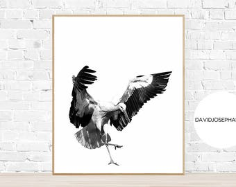 Stork Print, Bird Wall Art, Modern Print, Minimalist Print, Stork Decor, Living Room Print, Nursery Wall Art, Digital Download, Animal Photo