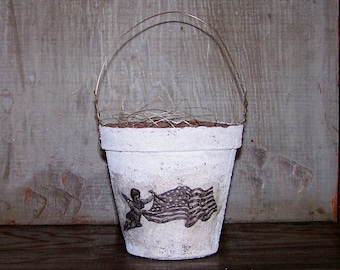 Primitive Americana Basket, Peat Pot Basket with Vintage Image, Farmhouse Decor, Angel with American Flag, Party Favor - READY TO SHIP