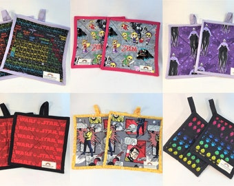 Pairs of Geek themed potholders - Pop Culture inspired fabrics to geek up your kitchen