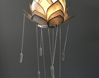 Crystal Mobile- Bohemian Mobile- Crystal Chandelier- Lotus Decor- Bohemian Chandelier- Bohemian Decor- Wedding Decor