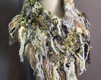 Fringed grey white yellow Plush Knit Cowl, Dumpster Diva Boho Fringed Cowl, yak silk, wearable art, huntress, chartreuse, neckwarmer, funky