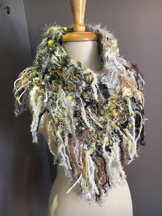 Fringed grey white yellow Plush Knit Cowl, Dumpster Diva Boho Fringed Cowl, yak silk, wearable art, huntress, chartreuse, neckwarmer, funky
