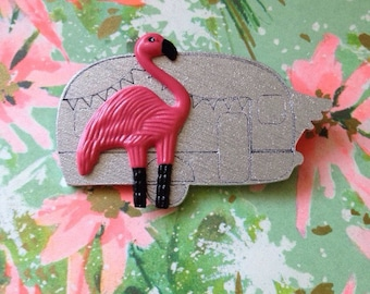 SALE Flamingo Trailer Brooch - Pink Flamingo Brooch - Handmade Atomic Novelty Brooch - Tacky Kitsch Mid Century Modern - John Waters Divine