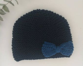 Ardoise knitted beanie with rivere bow