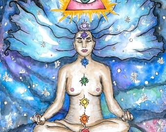 Visionary Art Print Divine Sacred Feminine Spiritual Art Meditative Fantasy Pagan Art Goddess Psychedelic Art Chakra Kundalini Art