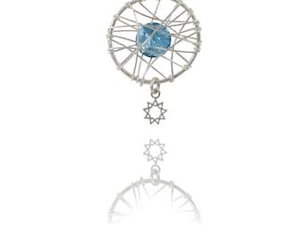 Nine point star necklace Aqua marine  - Baha'i symbol necklace