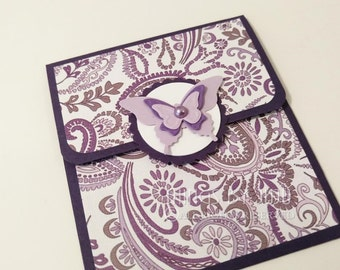 Purple Butterfly Card Gift Card Holder With Envelope Mothers Day Card Bridal Shower Baby Shower Birthday Card For Her Money Holder Get Well