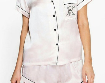 Silky Satin Luxurious Shortie PJ with Your Choice of Letter Monogram in Beaded Embroidery