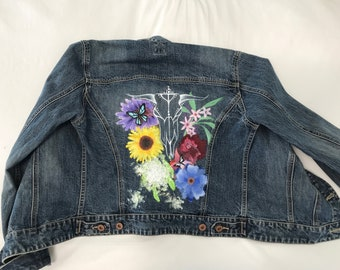 Hand painted Long horn and FlowerJjean Jacket