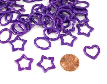 Medium Purple Mini Chain Links - Sugar Glider Bird Toy Parts Kids Crafts Jewelry Plastic Chain Links C Link