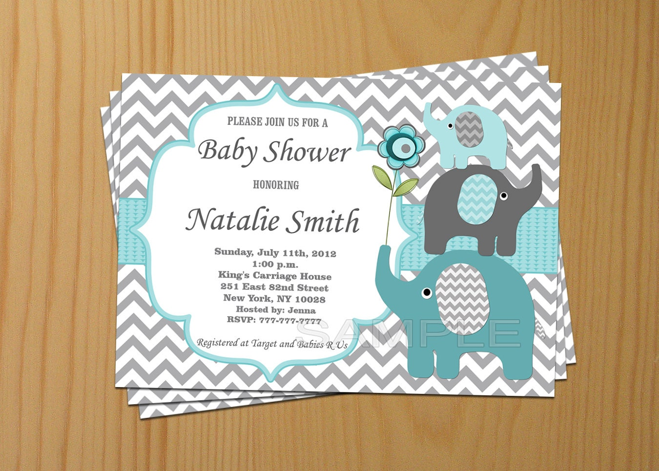 Baby Shower Invitation Boy Elephant Baby Shower Invitation
