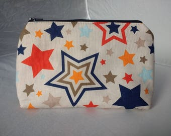 Stars Traingle Zip Pouch. Make-up/Toiletries bag or Pencil Case