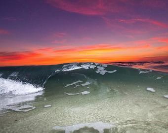 La Jolla Sunset Wave - 8x12 12x18 16x24 24x36 Lustre Print - Surf Photography - Water Photography - Modern Art - Wall Art