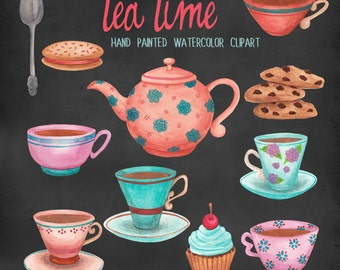 tea cup watercolor clipart, tea time digital clipart, tea and cupcakes watercolor graphic set, brown pink and blue teacups by SLS lines