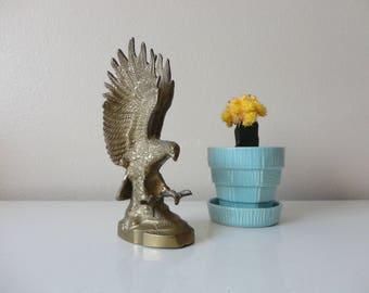 VINTAGE brass EAGLE FIGURINE - bird of prey - brass bird