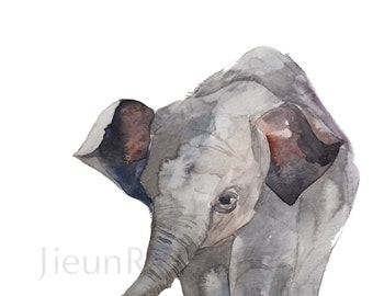 Baby Elephant giclee print of watercolor