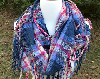 Blue and Pink Tassel Infinity Scarf