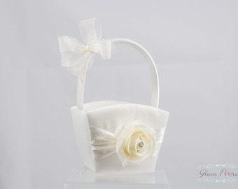 Rose Flower Girl Basket, Ring Bearer Pillow, Set, Rhinestones, cream white ivory red pink peach purple Real Touch flowers