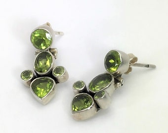 Beautiful Sterling Silver & Peridot Hinged Drop Earrings
