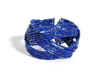 Blue Bangle Cuff Woven Seed Bead Bracelet, Chunky Bright Blue Memory Wire Cuff Bangle, One Size Fits All Bracelet