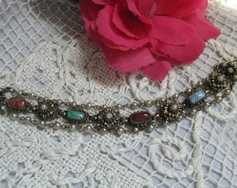 Stone Link Bracelet ~~ Vintage Costume Jewelry Bracelet~~Vintage Bracelet~~Stone Bracelet