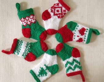 "5 1/2"" CHRISTMAS STOCKINGS - set of 6 - hand kit"