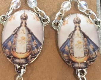 Vintage Blessed Mother drop earrings with crystal beadingand sterling silver hooks