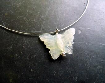 Chain, steel silk, sterling silver, serpentine, light green, butterfly, silver, jewelry