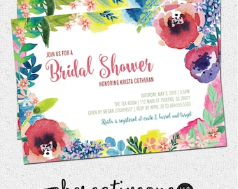 Bridal Shower Invitation Floral Watercolor Garden Flowers Colorful Printable Digital File or Printed