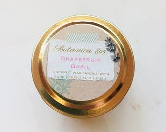 Grapefruit Basil Coconut Wax Candle (Travel/Sample)
