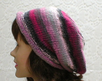 Rolled brim slouchy hat, silver charcoal gray pink fuchsia tweed stripes, slouchy hat, knit hat, toque, womens hat, chemo cap, winter hat