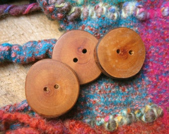 003 Three natural, cherry wood buttons handmade, one of a kind.