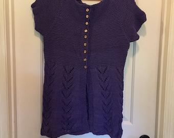 Women's handknit top purple
