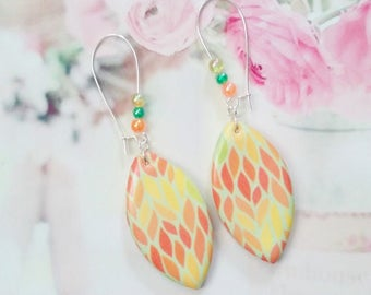 Earrings graphics drop shape polymer clay