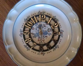 Floral Country Blue 10 1/2 Inch Clock Plate !
