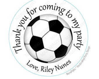 Soccer stickers, Party Personalized PRINTED round Stickers, Labels or Envelope Seals  A932
