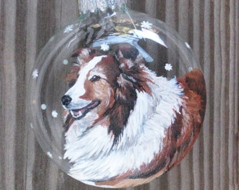 Custom Dog Ornament, Personalized Christmas Ornament of Pet, Hand Painted Pet Art with Snow Falling