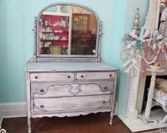 Cuatom Order Shabby Chic Dresser Gray White Distressed Antique Country  Cottage Prairie