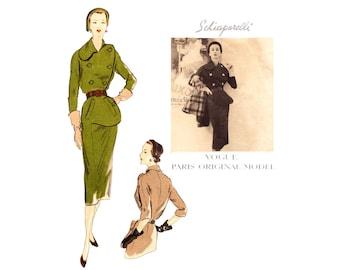 Vogue Paris Original 1148 1950s Schiaparelli Dress Pattern Couture Vintage Sewing Pattern
