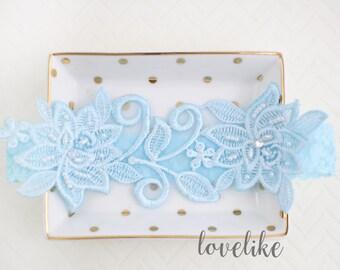 Wedding Garter,Light Blue Beaded Flower Lace Wedding Garter , Light blue Lace Garter , Toss Garter , Bridal Wedding Garter