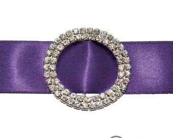 25mm Diamante Circle Ribbon Buckle - Wedding Anniversary Decoration Cake